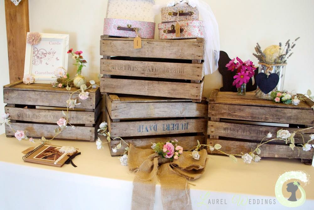 Gift Table Decorations Rustic Wedding Wooden Crates Hessian Bow From Laurel Weddings