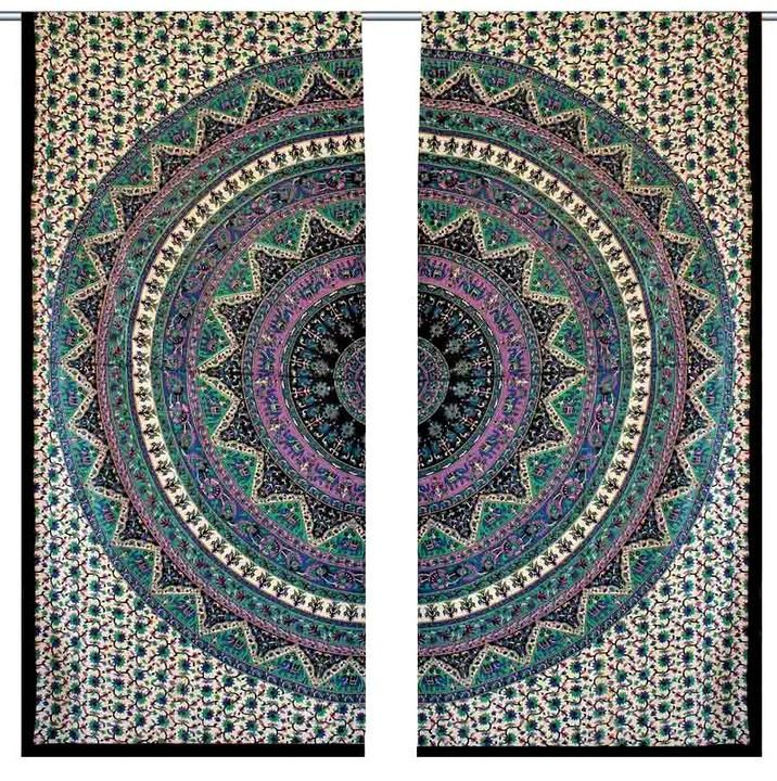 Indian Mandala Window Hanging Curtain Panels 2 Valances