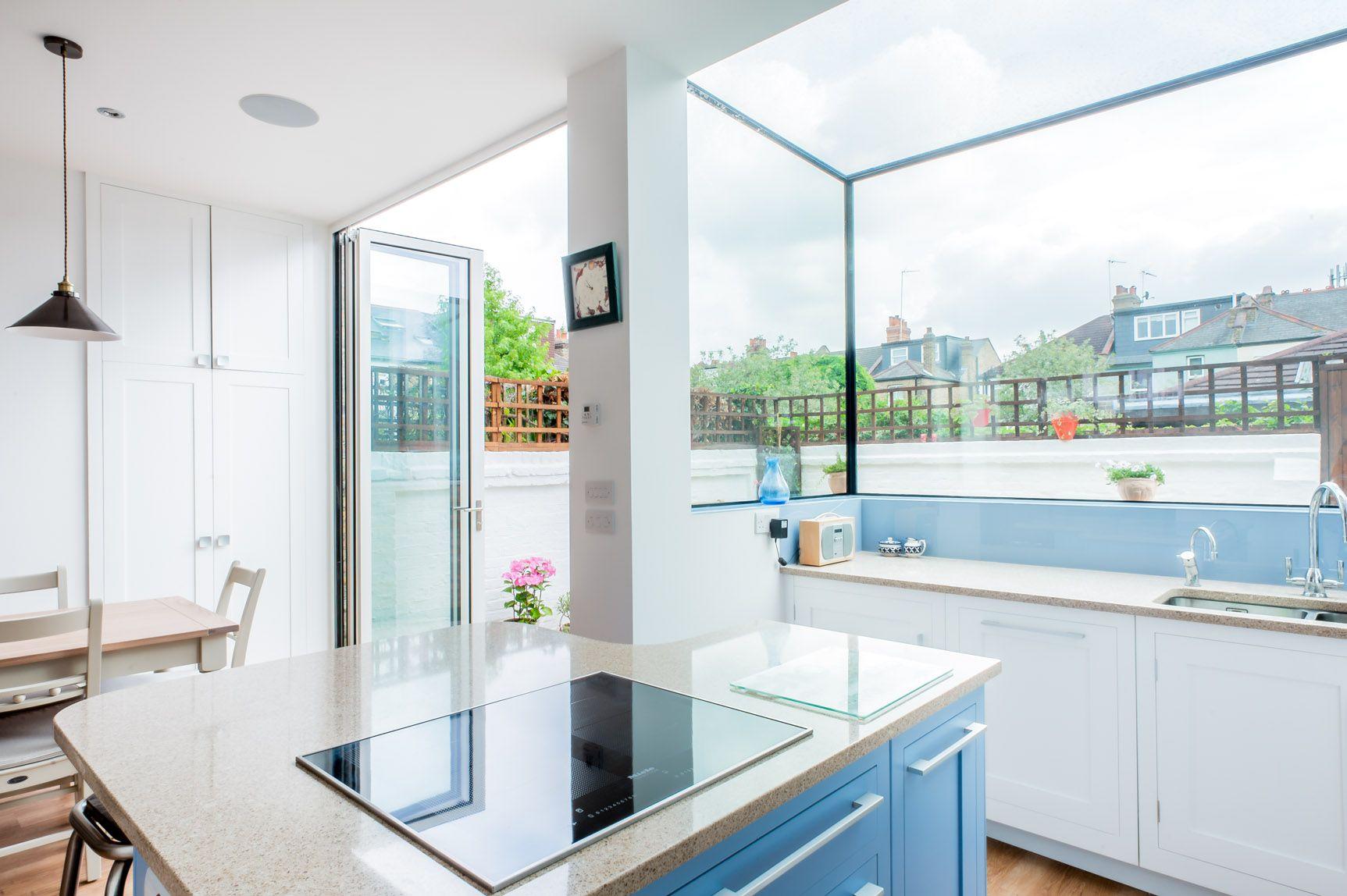 Stunning glass box kitchen extension with full height bi-fold doors ...