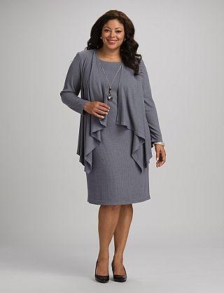 Plus Size Sweater Necklace Jacket Dress | Dressbarn | wish list ...