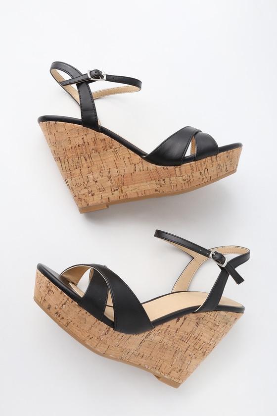 Nixie Black Wedge Sandals | Black wedge