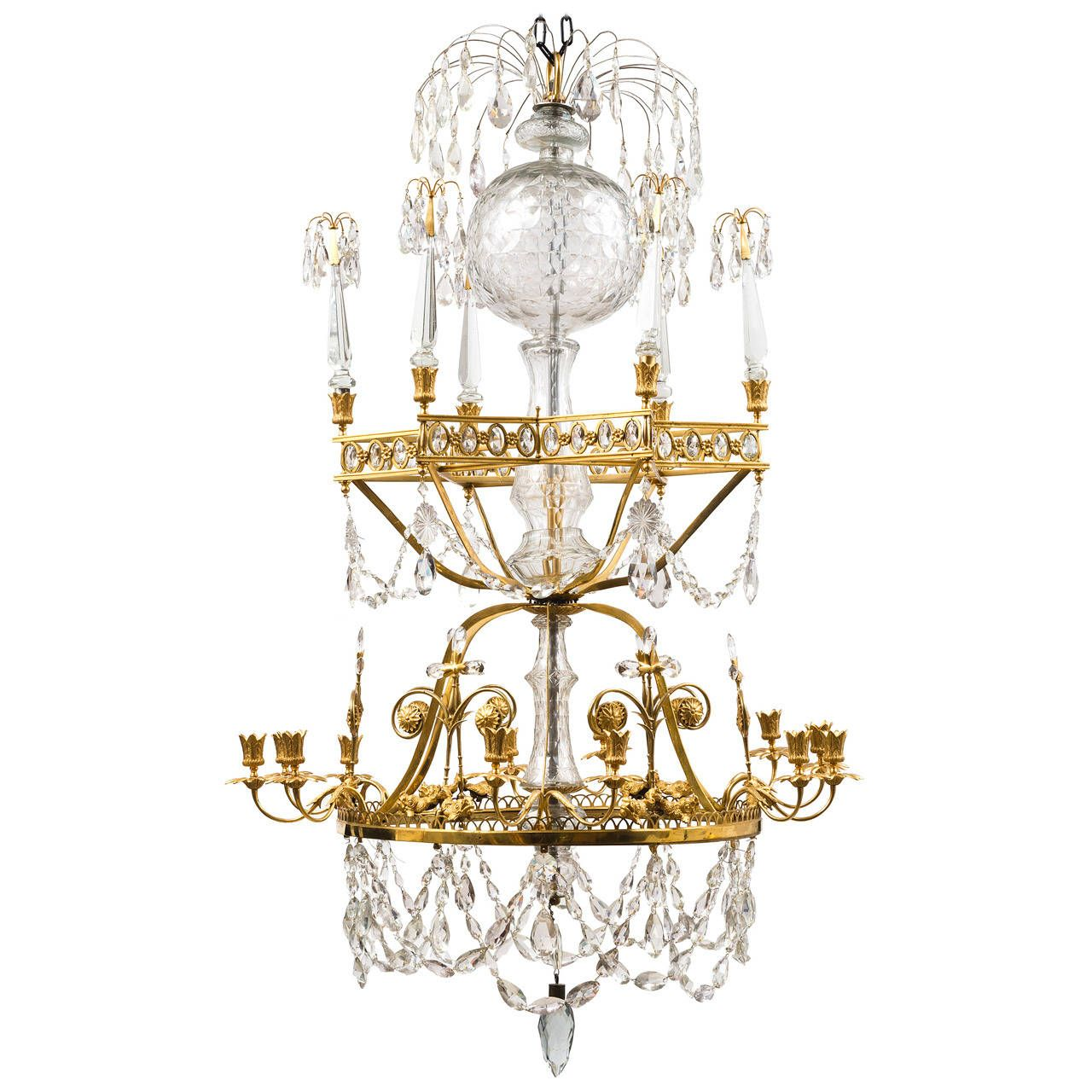 Magnificent Russian Gilt Bronze and Crystal Chandelier, circa 1800 ...