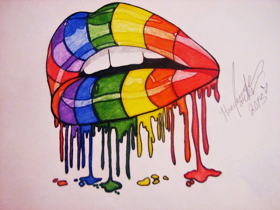 rainbow painted lips by - photo #3