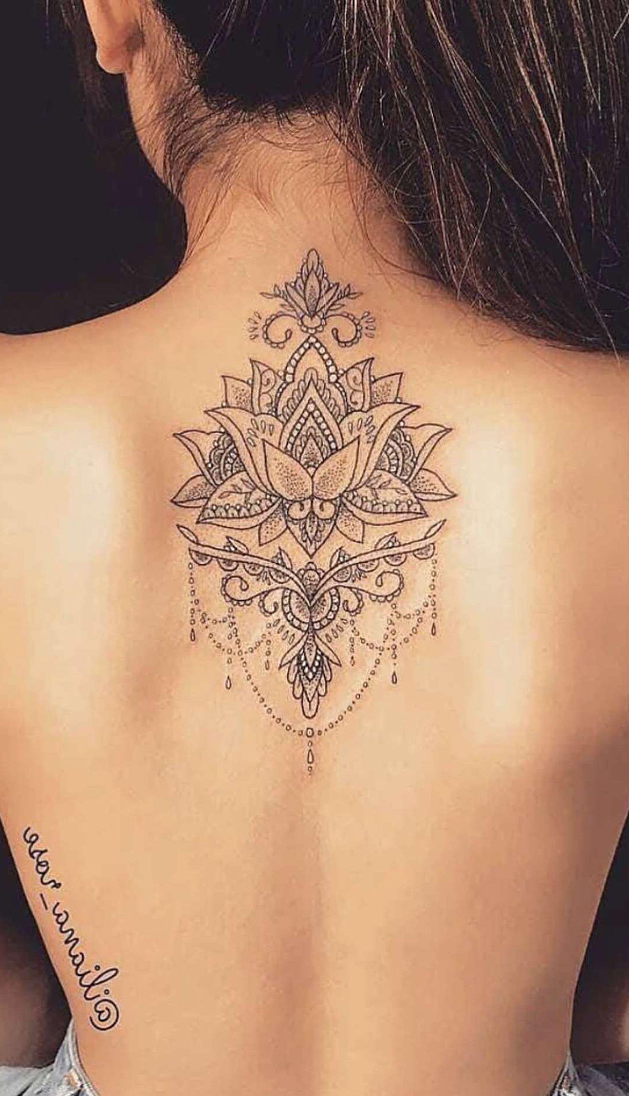 Beautiful Mandala Lotus Back Tattoo Ideas For Women Spine
