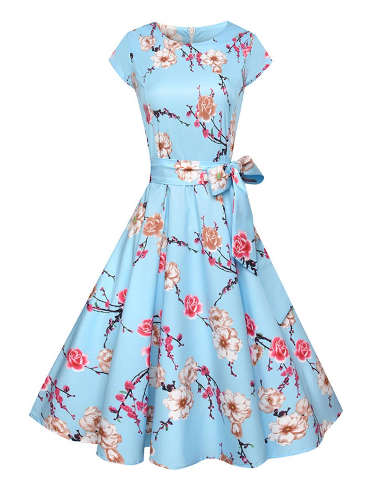 cb0e884975a25 1950s Floral Print Swing Party Dress – Retro Stage - Chic Vintage Dresses  and Accessories