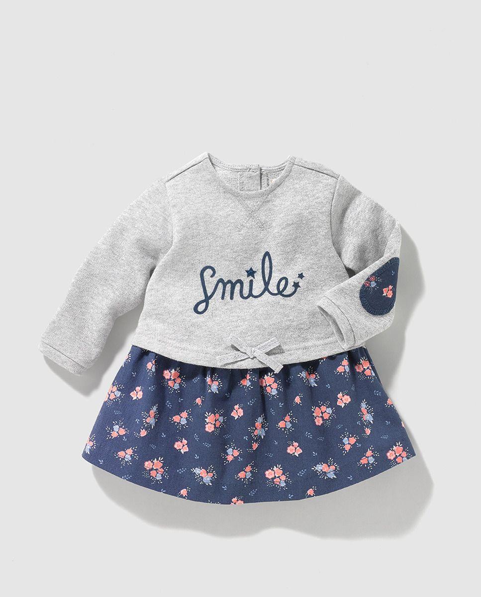 242a9c12255 Vestido combinado de bebe niña Brotes con estampado de flores