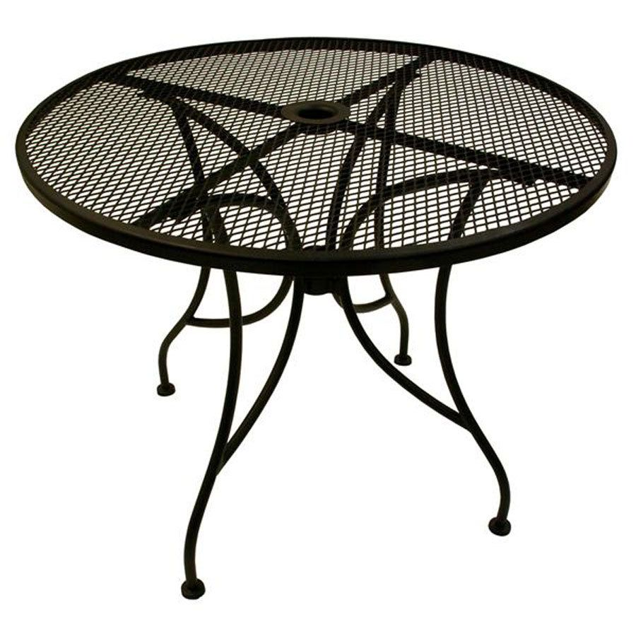 American Tables Seating Alm30 30 Round Mesh Top Outdoor Table With Umbrella Hole