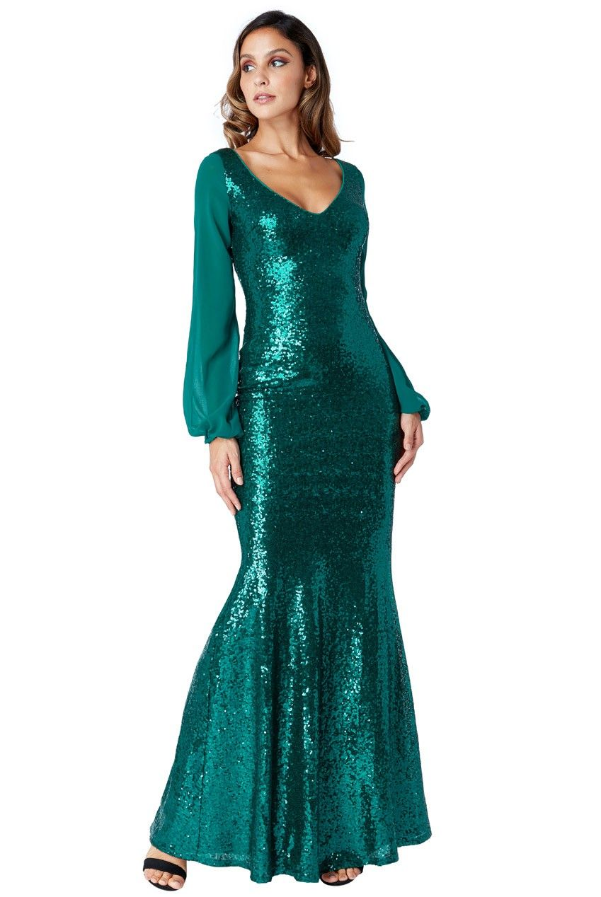 de3e2893893 Goddess grøn paillet kjole med ærmer   Fashion   Kjole, Ærmer, Chiffon