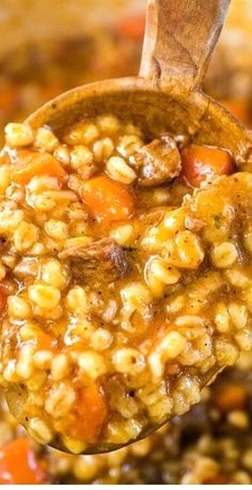 Hearty Beef Barley Soup #crockpotmealprep
