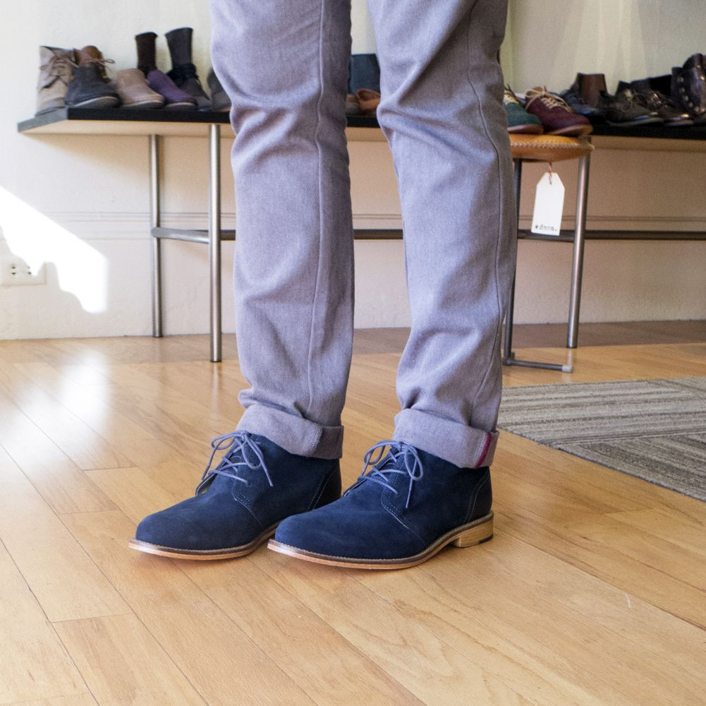 J Shoes Monarch chukka boots in nav blue suede at Bulo Shoes in ...