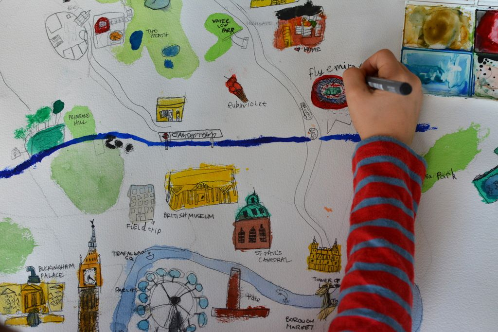 Draw a map of your city Drawing for kids, Map crafts