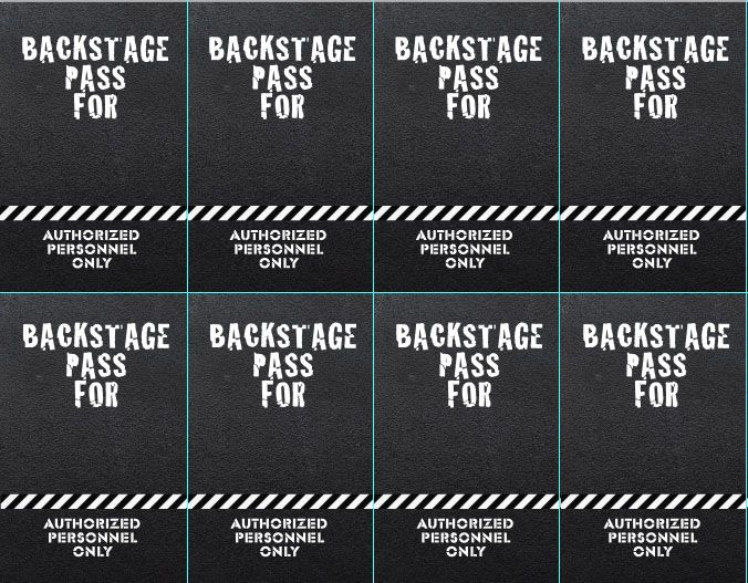 Backstage passes for Rock n' Roll Birthday Party | Pretty Handy ...