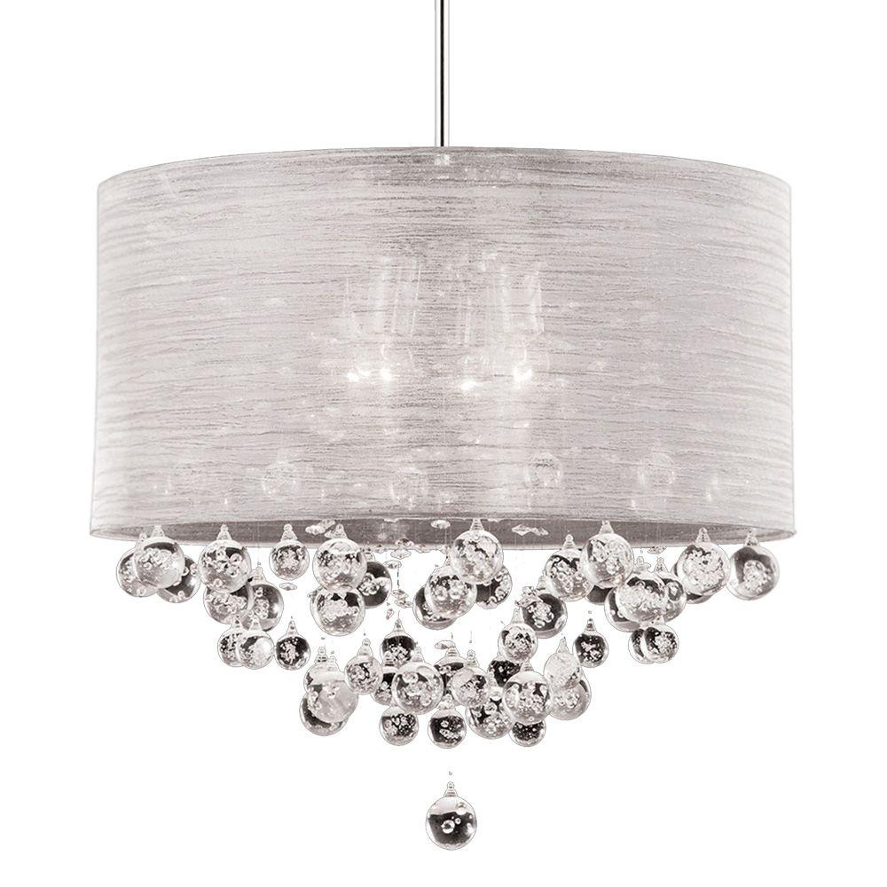 New 4 lite chandelier silk silver drum shade crystal ball with new 4 lite chandelier silk silver drum shade crystal ball with bubble dia 20 arubaitofo Gallery