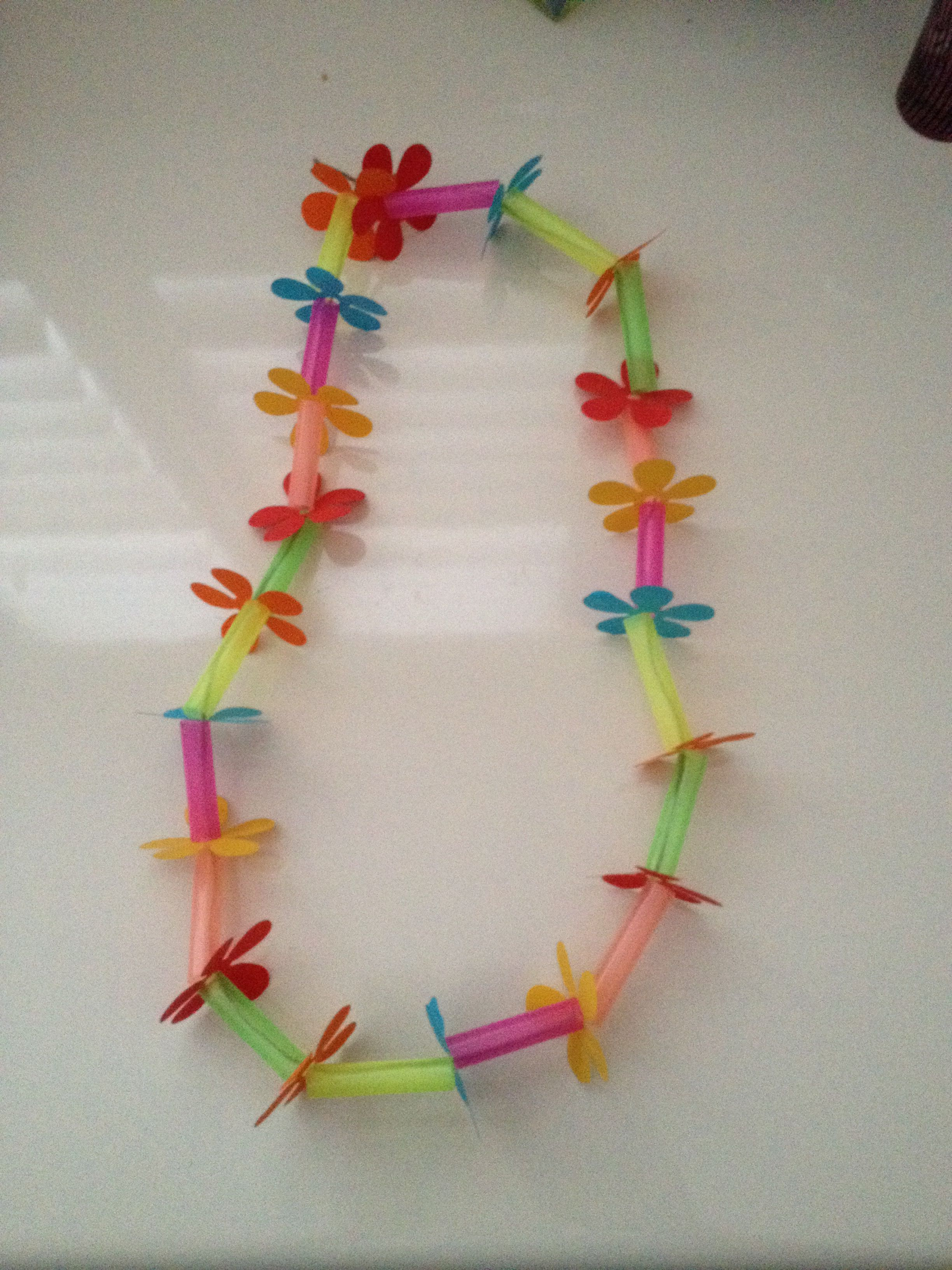 Hawaiian Lei Playgroup Craft String Jumbo Straws Cut Into Pieces And Flowers Punched Out If