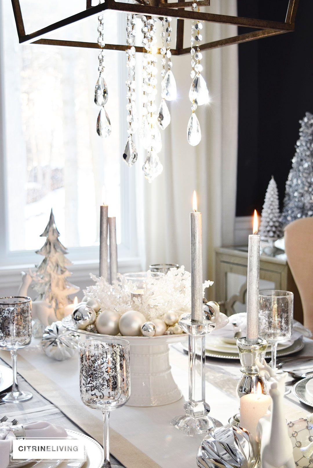 Pin By Angela Monique On Christmas Tables Tablescapebloghop Holiday Centerpieces Christmas Table Decorations White Christmas Decor