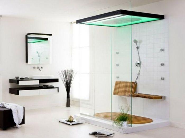badezimmer design - moderne dusche mit grüner beleuchtung, Hause ideen
