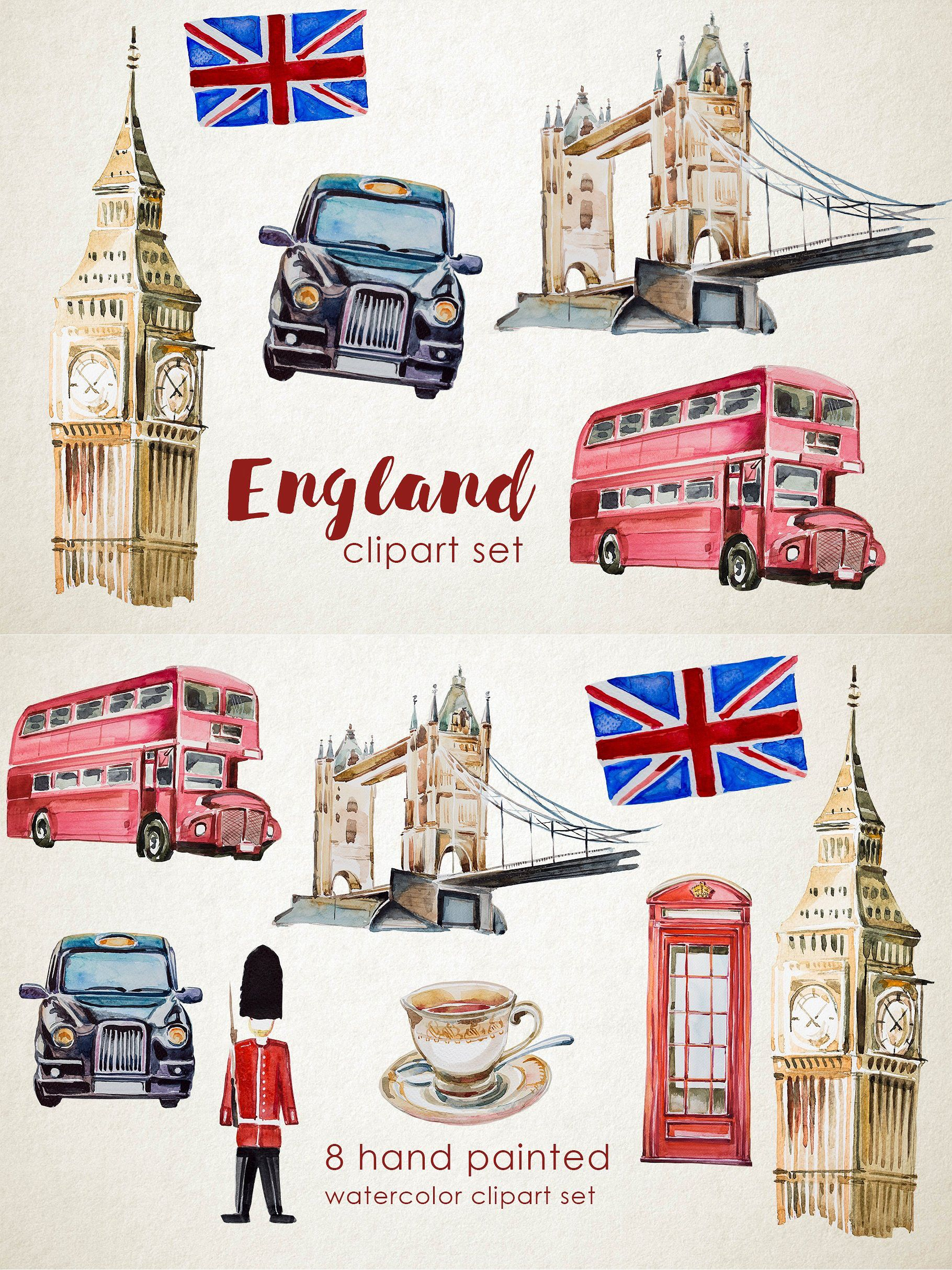 Watercolor England Clipart Set In
