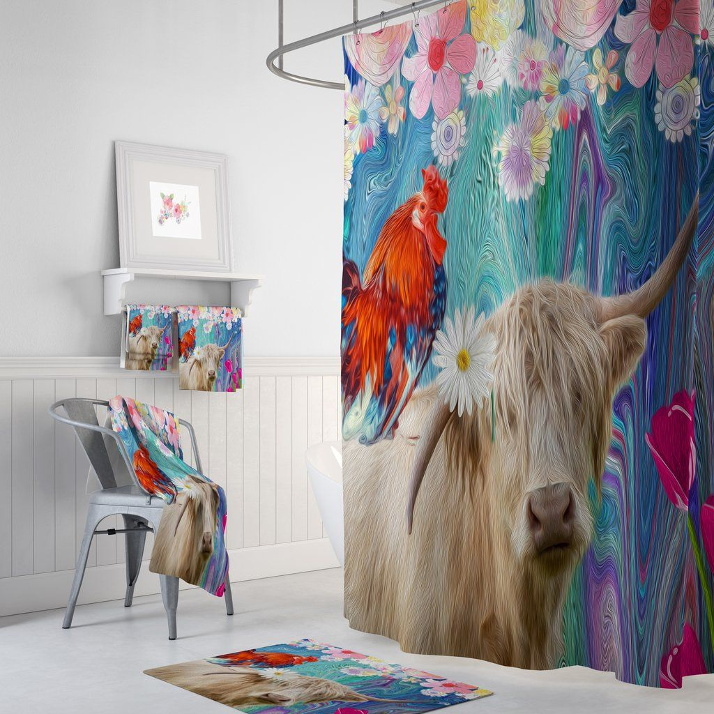Eclectic Cow Shower Curtain Maximalist Bathroom Decor In 2020