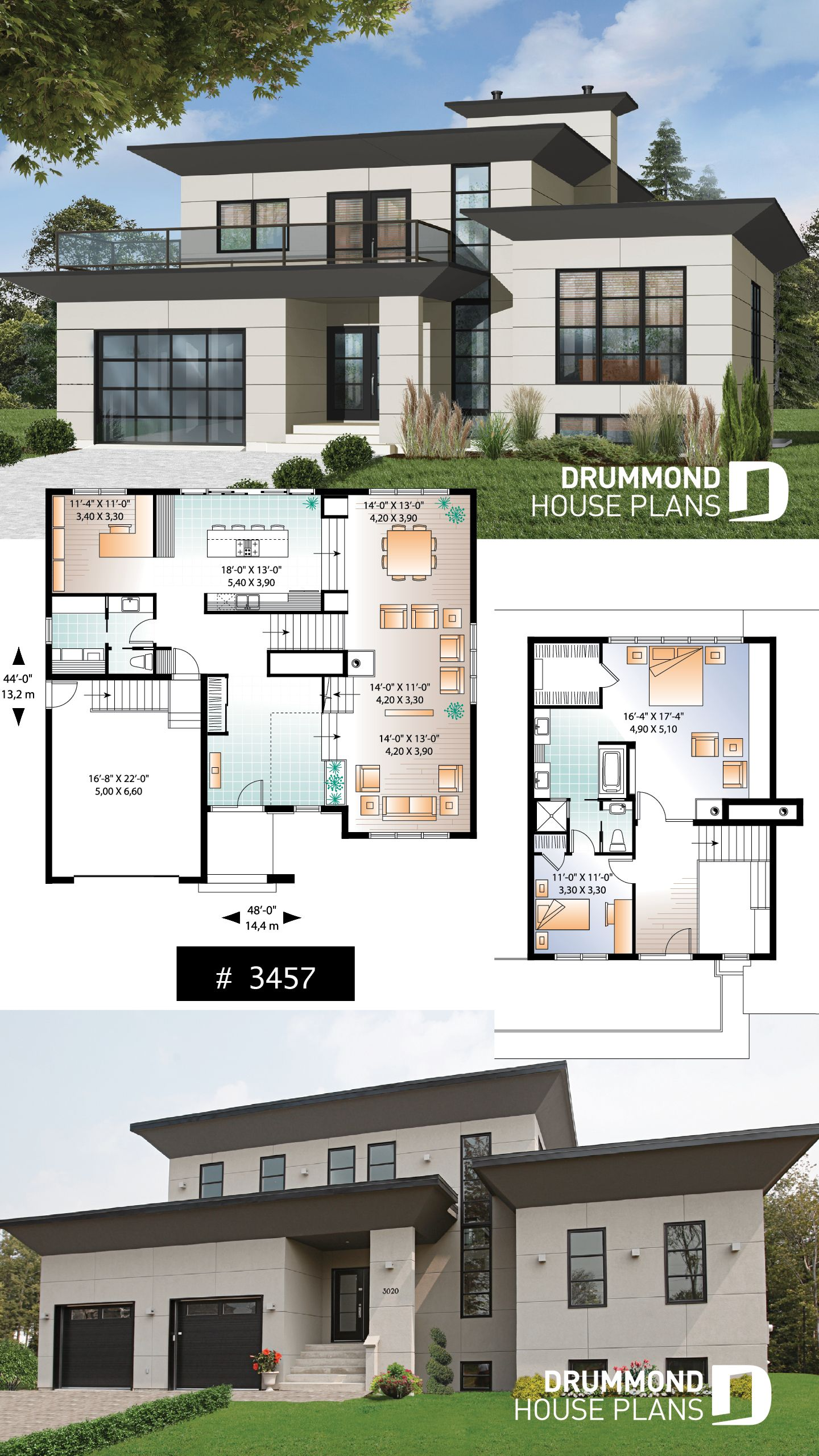 Decouvrez Le Plan 3457 Hauterive Qui Vous Plaira Pour Ses 5 2 3 4 Chambres Et Son Style Contemporain Zen Modern House Floor Plans Contemporary House Plans Modern Style House Plans