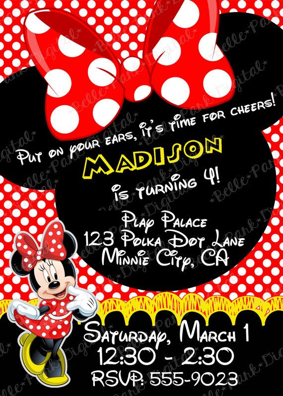 Red Minnie Mouse  INSPIRED Birthday Party Invitation 5x7 Printable Digital  with FREE Thank You Notes!