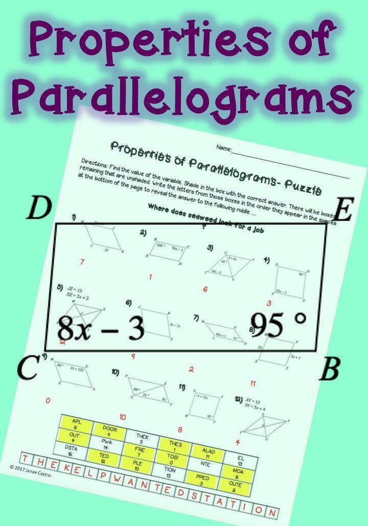 Properties of Parallelograms - Puzzle Worksheet | Geometry ...