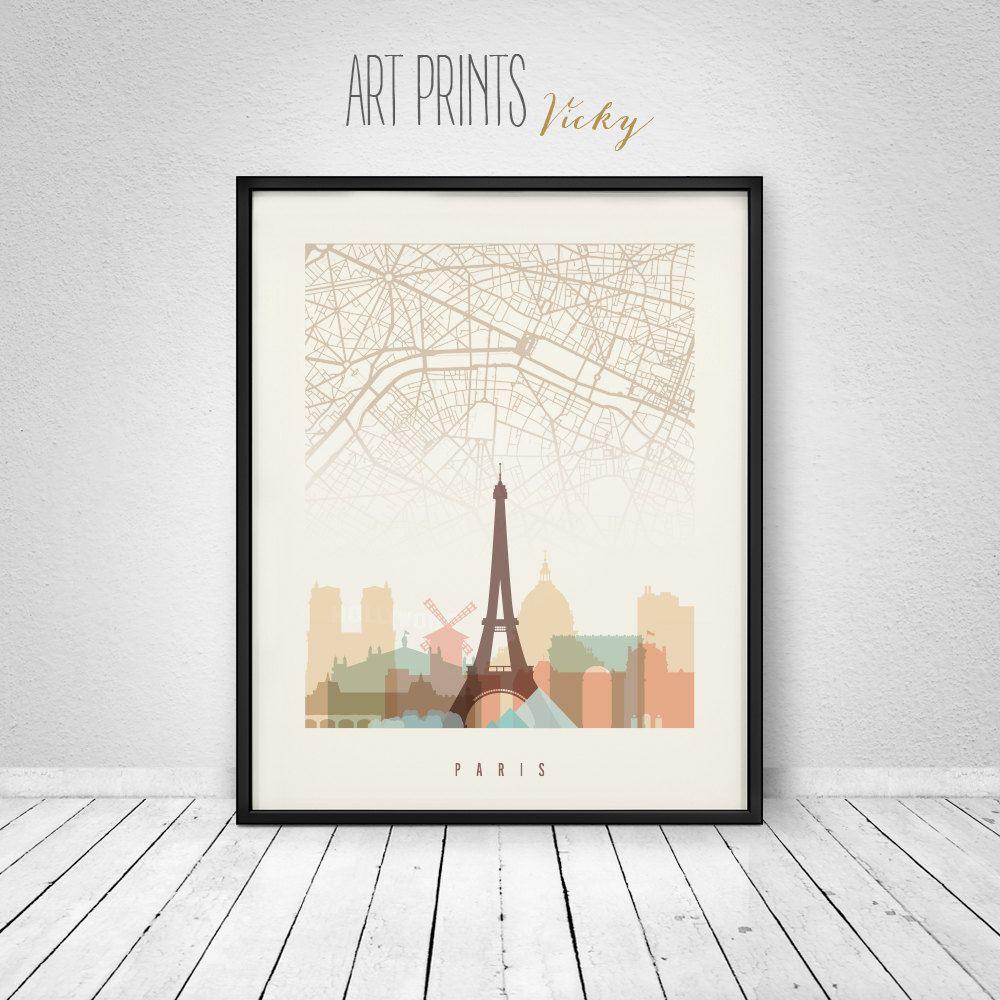 Paris map Paris poster Paris wall art print City posters