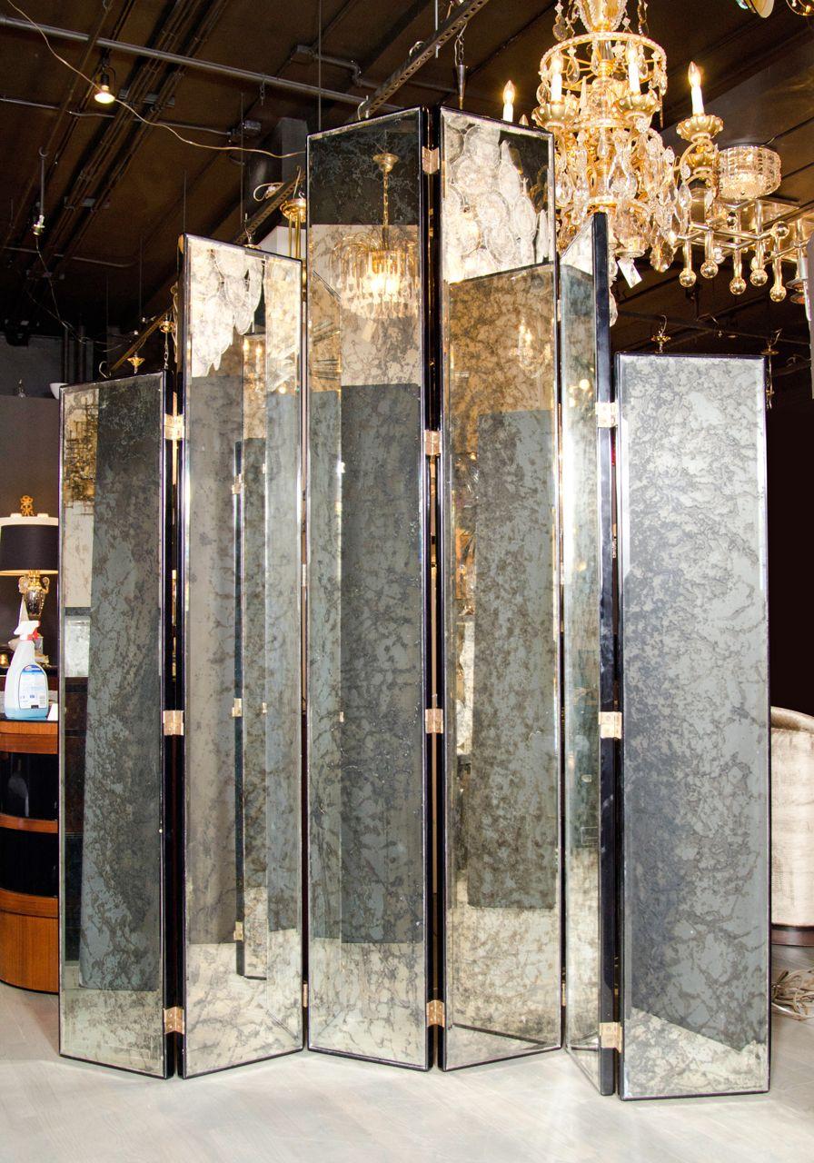Glamourous art deco skyscraper style mirrored screen skyscrapers