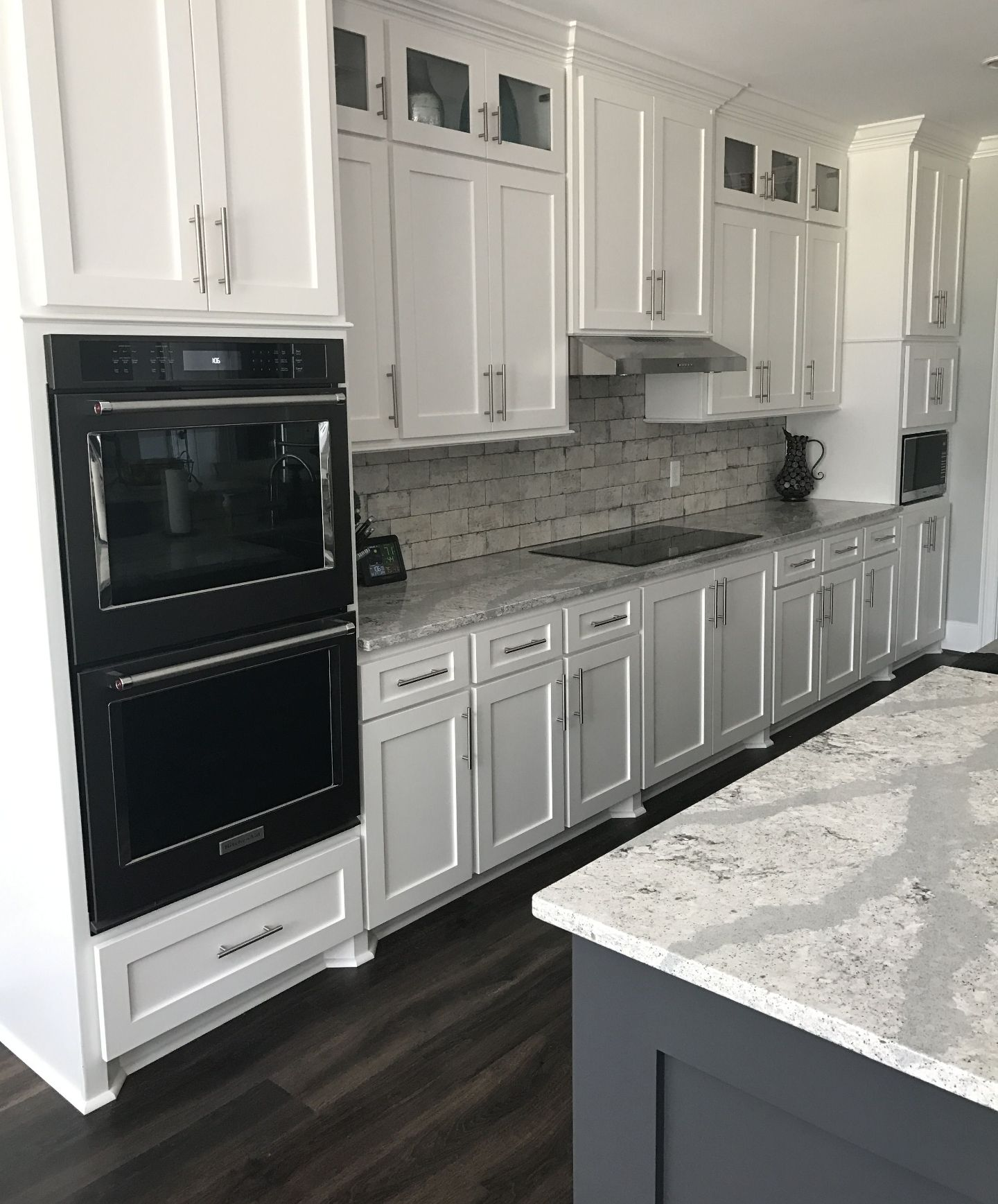 White Grey And Marble With Black Appliances White Modern Kitchen White Kitchen Design Kitchen Design