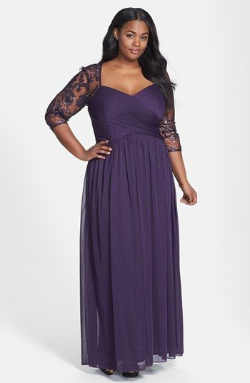 Adrianna Papell Sequin Embroidered Lace Dress (Plus Size ...