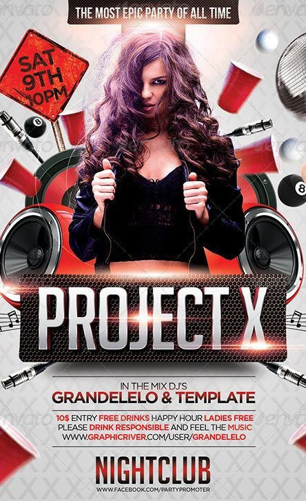 Project X Club and Party Flyer Template http://clubpartyflyer.com ...