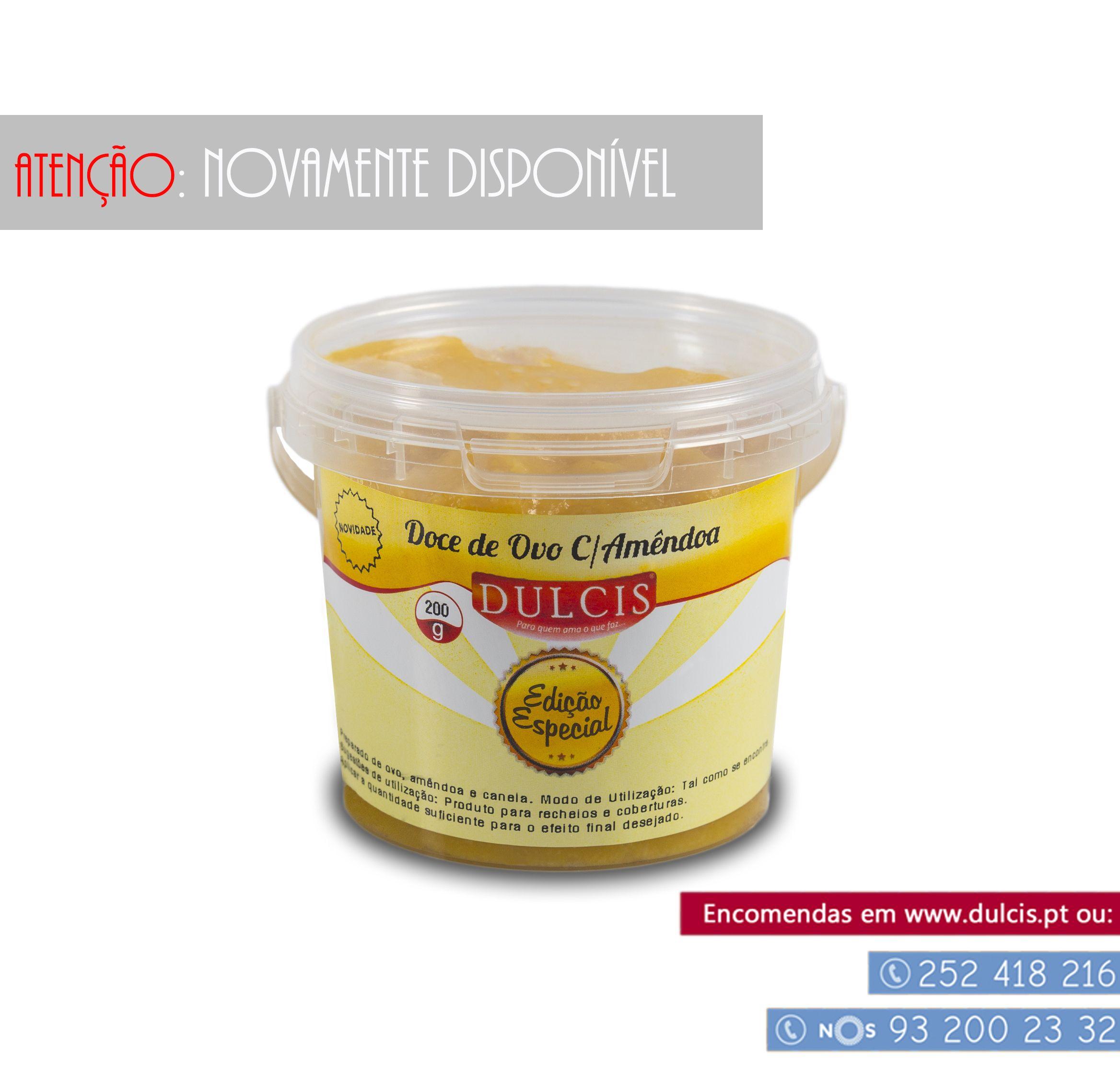 Olá :) Depois de tanto nos terem pedido este produto, eis que ele está de volta :) Com um sabor típico Português o nosso fabuloso Doce de Ovos C/Amêndoa :) Toda a gente vai querer agarrar esta oportunidade :)  Produto disponível em: http://www.dulcis.pt/product/doce-de-ovo-c-amendoa-200g/  Ou através dos nossos contactos telefónicos:  252 418 216 | 932 002 332  Tenham um dia bem Dulcis