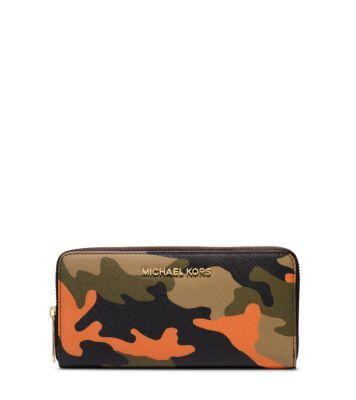 e4a10479ddf3 MICHAEL MICHAEL KORS | Jet Set Travel Camouflage Saffiano Leather Wallet |  poppy camo
