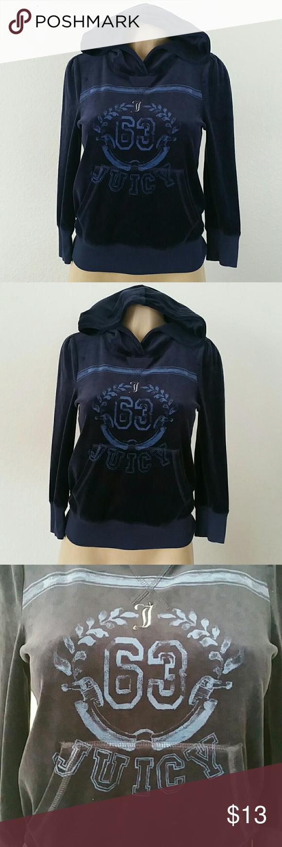 Juicy Couture sweat shirt velour blue Sz S Juicy Couture sweat shirt velour blue Sz Small Juicy Couture Sweaters Crew & Scoop Necks