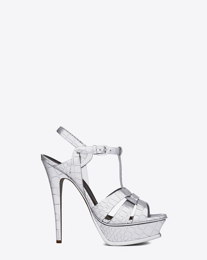 f1b114d70b3 Silver crocodile-pattern heels