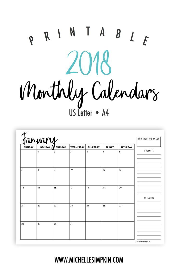 2018 printable calendars plan out your year with these ink friendly beautiful designed