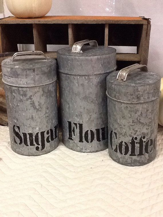 Galvanized Metal Canisters by RibbonwoodHome on Etsy | Farmhouse ...