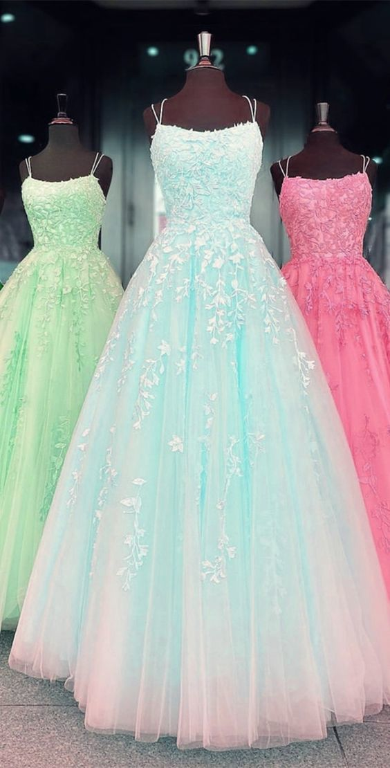 tulle prom dress princess ball gown lace embroidery ML1742