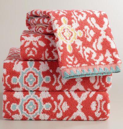 Coral Jacquard Natalia Bath Towel Collection Towel Collection Decorative Bath Towels Red Towels
