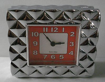 #Robert abbey desk / #tabletop #alarm clock silvertone case red face art deco sty,  View more on the LINK: http://www.zeppy.io/product/gb/2/371351587175/
