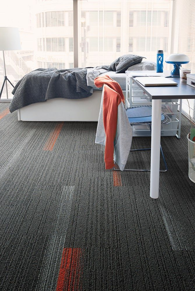 Floor Designs For Dorms Dormitories This Combination Of Grey And Red Orange Carpet Tiles Makes For A Seamless Clean Floor Design Carpet Tiles Flooring Trends