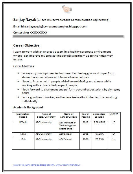 B Tech Rohit Pant Resume Format Resume Examples Job
