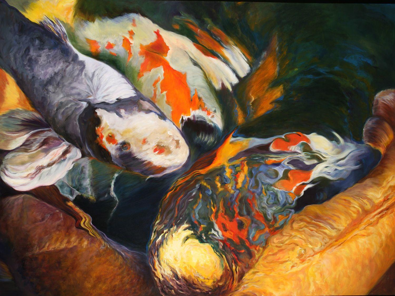 "Kaleidoscope of Color Acrylic on canvas 42"" x 54""  SOLD ©NanciHersh  contact nancihersh@gmail.com"