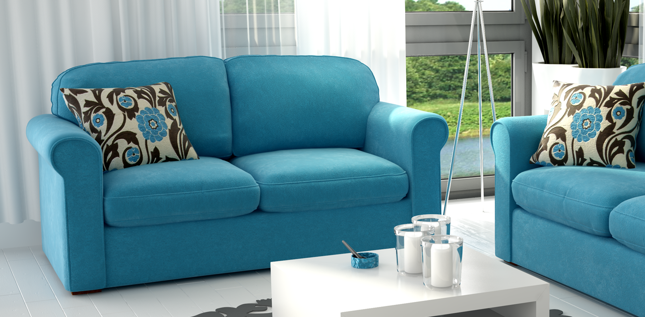 Best Blue Couch Home » Fabric Sofas » Torec 2 Seater Blue 400 x 300