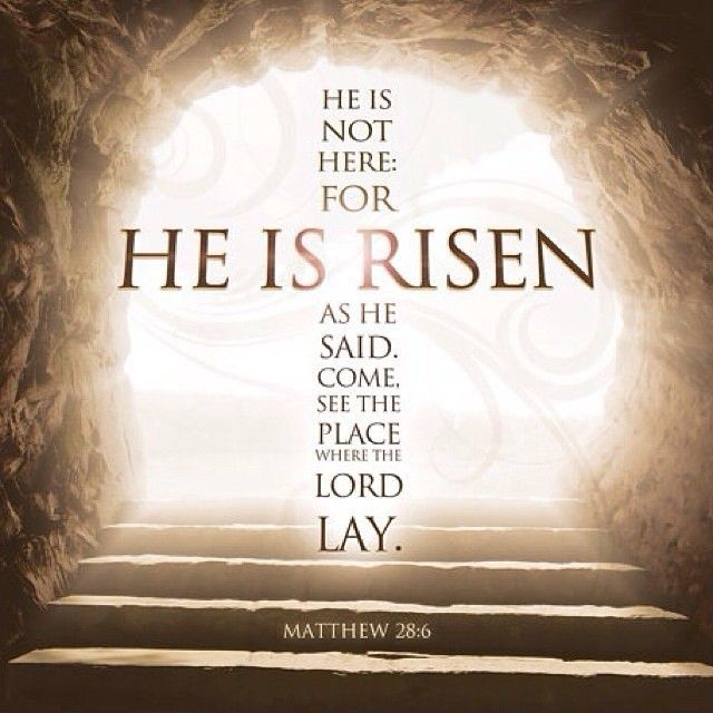 """MATTHEW 28:6 NIV] """"He is not here; he has risen, just as he said. Come and  see the place where he lay.""""<… 