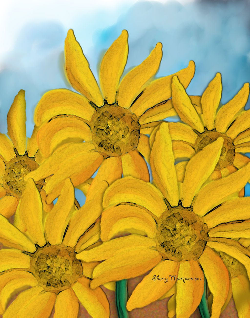 Sunflowers Dancing in the Wind by 1illustratinglady.deviantart.com