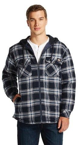 Dickies® - Men's Big/Tall Flannel Hooded Quilted Shirt Jacket Navy ...