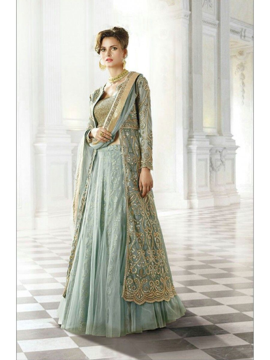 Long Jacket Celadon Green Wedding Dress Salwar Kameez Lehenga