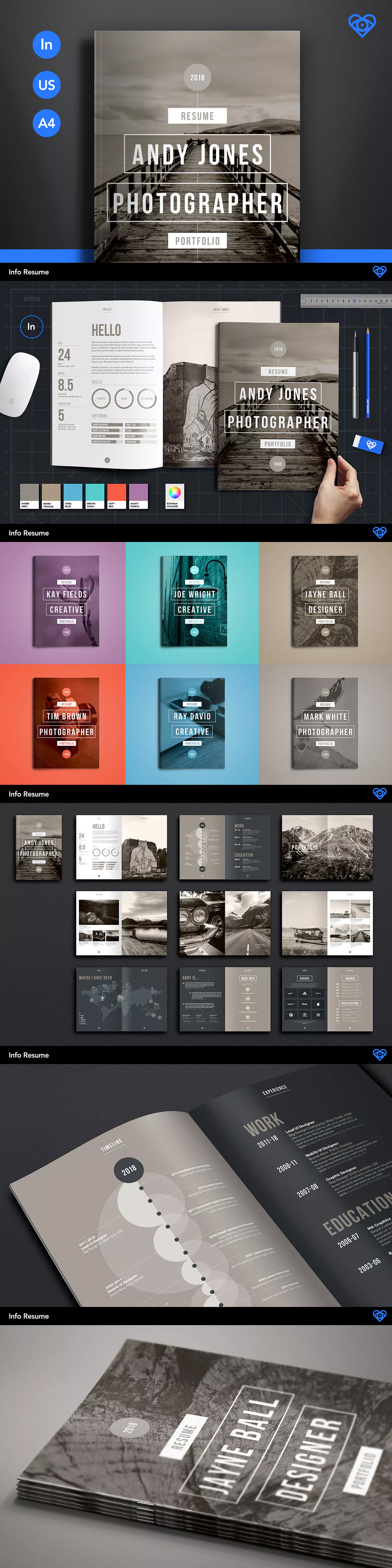 Info Resume and Portfolio Brochure Template InDesign INDD - A4 and ...