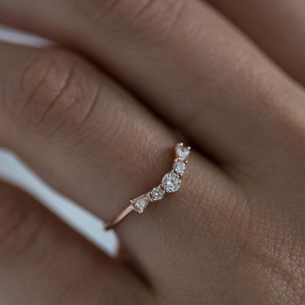Photo of 1ctw VS naturlig hvit safirring 14K hvitt gull diamant bryllup band løfte ring aniversary band 1.5mm diamantring brude løfte ring – Fine smykker ideer