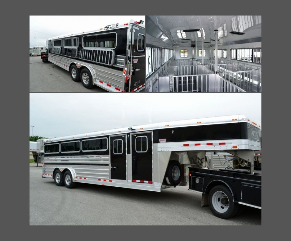 2016 4 Star 24 Show Stock Gooseneck Trailer 10 Pen Removable System Front Tack Room 3 Long Drop Down Wind Horse Trailers Livestock Trailers Horse Transport